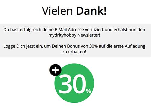 MyDirtyHobby 30% Rabatt bei Email Bestätigung