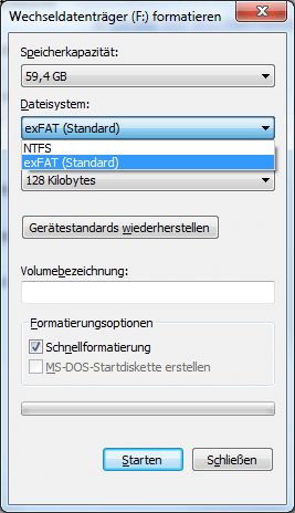 sd karte fat32 formatieren Windows: 64GB (128GB) microSD Karte in FAT32 (64 Cluster) formatieren