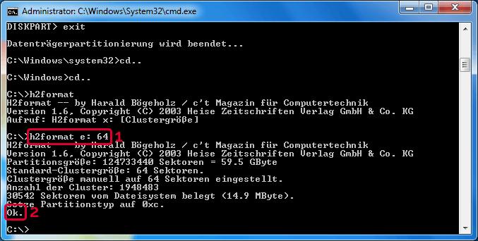 Die Software H2format hat die microSD Karte als FAT32 Datenträger mit einer Clustergröße von 64 formatiert