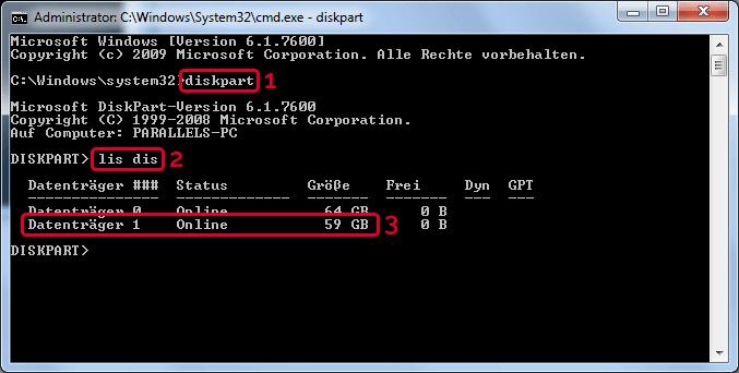 DiskPart starten, Datenträger auflisten und die microSD Karte identifizieren